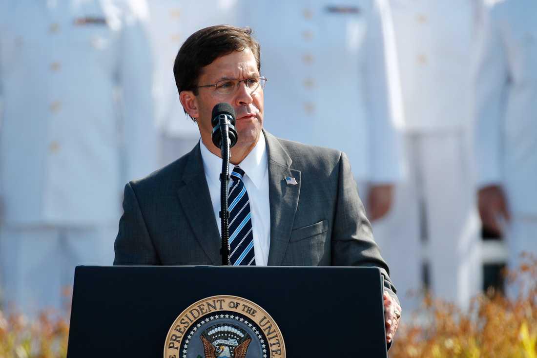 USA:s försvarsminister Mark Esper utanför Pentagon tidigare i september.