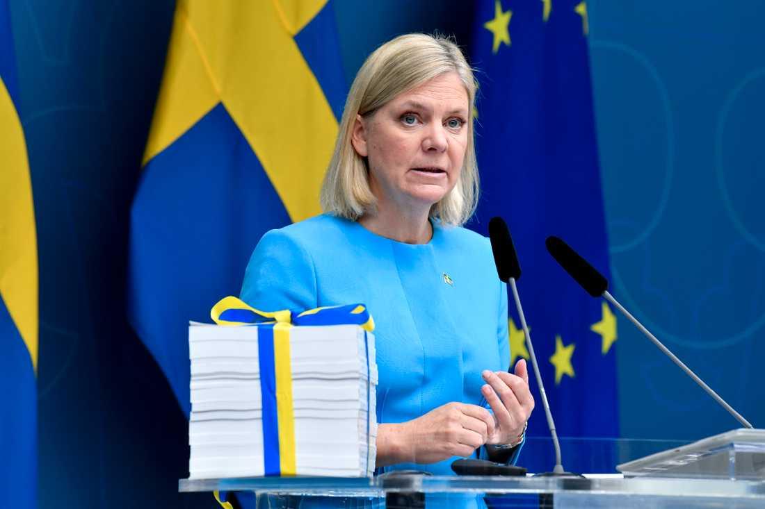 Finansminister Magdalena Andersson (S) presentarar budgetpropositionen för 2021 i Rosenbad i Stockholm.