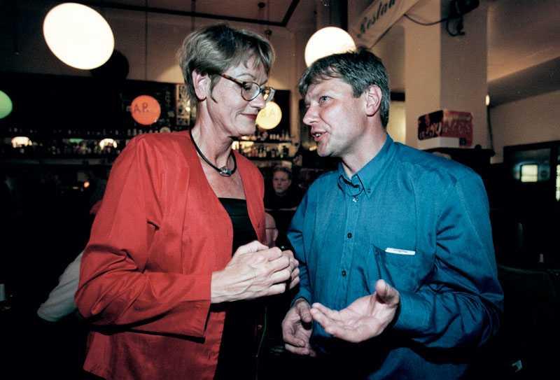 Schymans efterträdare Gudrun Schyman, dåvarande partiledare, tillsammans med Ohly underEIU_parlamentsvalet 1999.