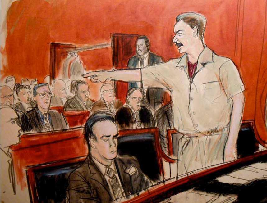 Utbrott i rätten En skiss från rättegången illustrerar hur Viktor But fick ett utbrott och hävdade att allt var lögn.