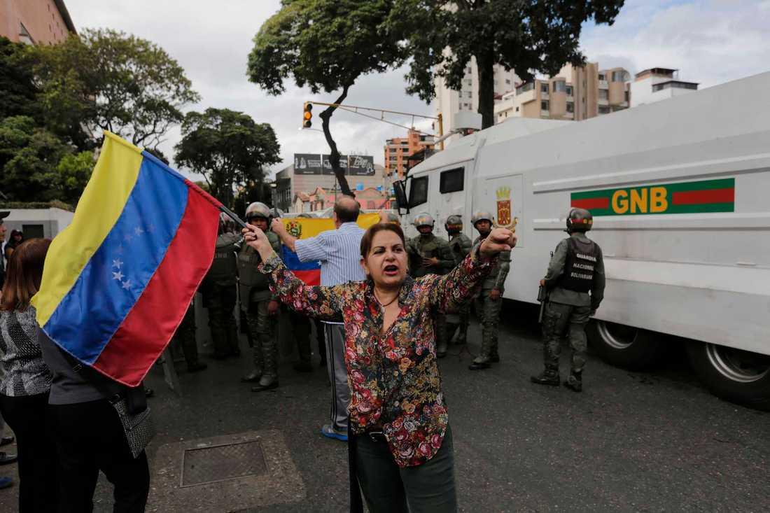 Protester i Venezuela under onsdagen.