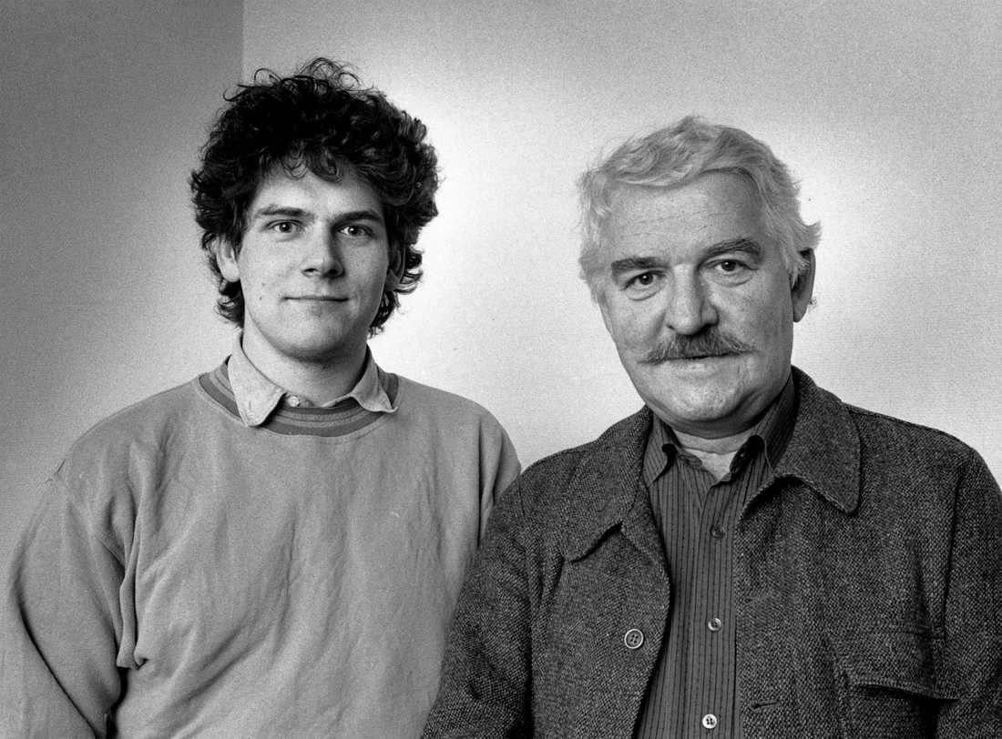 Hasse Alfredson och sonen Daniel Alfredsson, fotograferade 1987.
