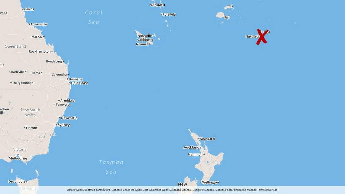 Tonga i södra Stilla havet.