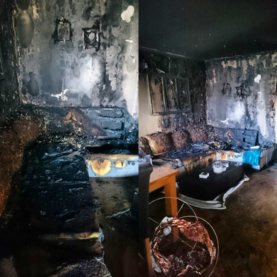 När hon kom hem var brandkåren på plats. Hennes lägenhet hade börjat brinna. Polisen tror att iPadladdaren är orsaken. Hela lägenheten förstördes.