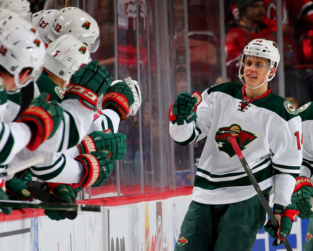 Joel Eriksson Ek gör första NHL-målet.