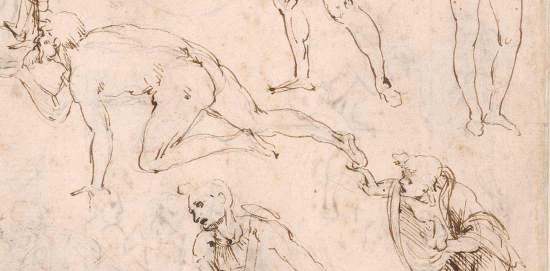 Deatalj ur en  av Leonardo da Vincis skisser, från utställningen Louvren i Paris.