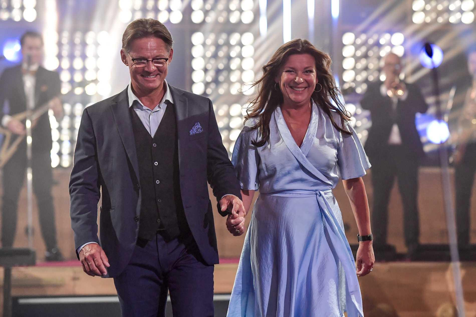 Mikael Sandström och Lotta Engberg under Kristallengalan 2020.