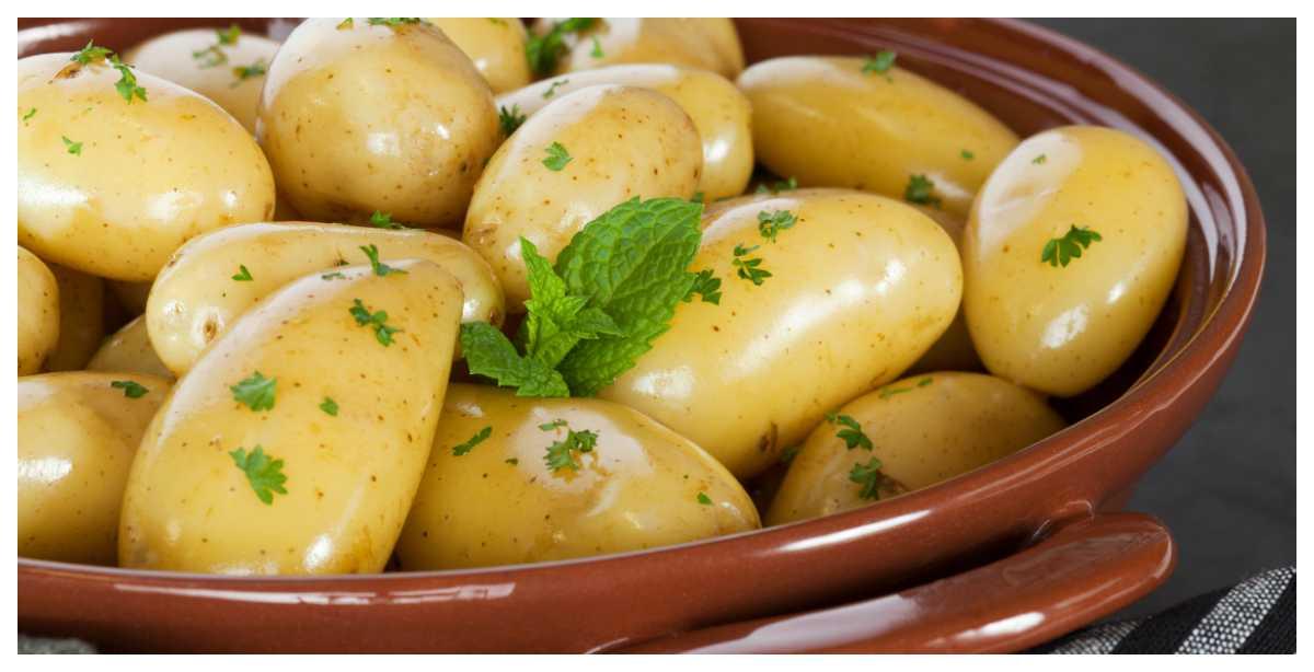 Låt potatisen ånga av innan servering.