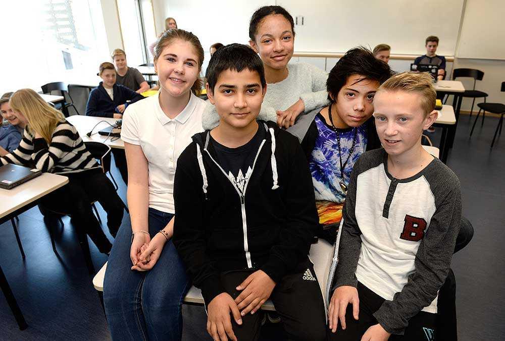 Selma Arifovic, 13, Aram Ali, 13, Olivia Lindström Okwesum, 13, Zean Ståhl Malbanan, 13, och Robert Andbjer, 13.