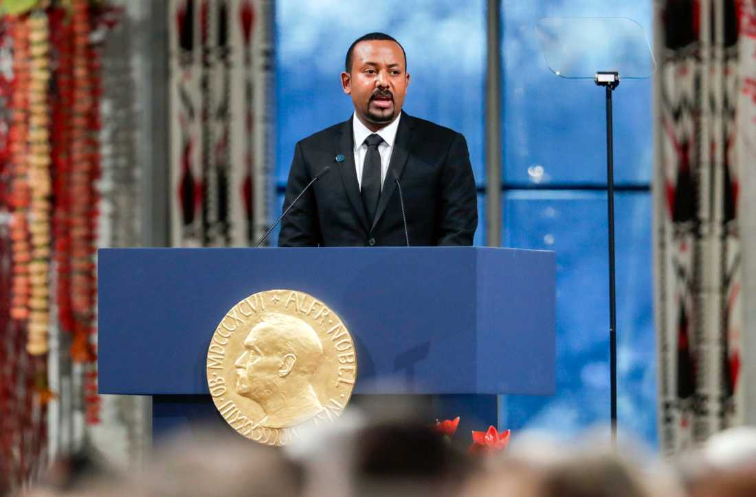 Etiopiens premiärminister Abiy Ahmed tar emot Nobels fredspris i Oslo, december 2019.