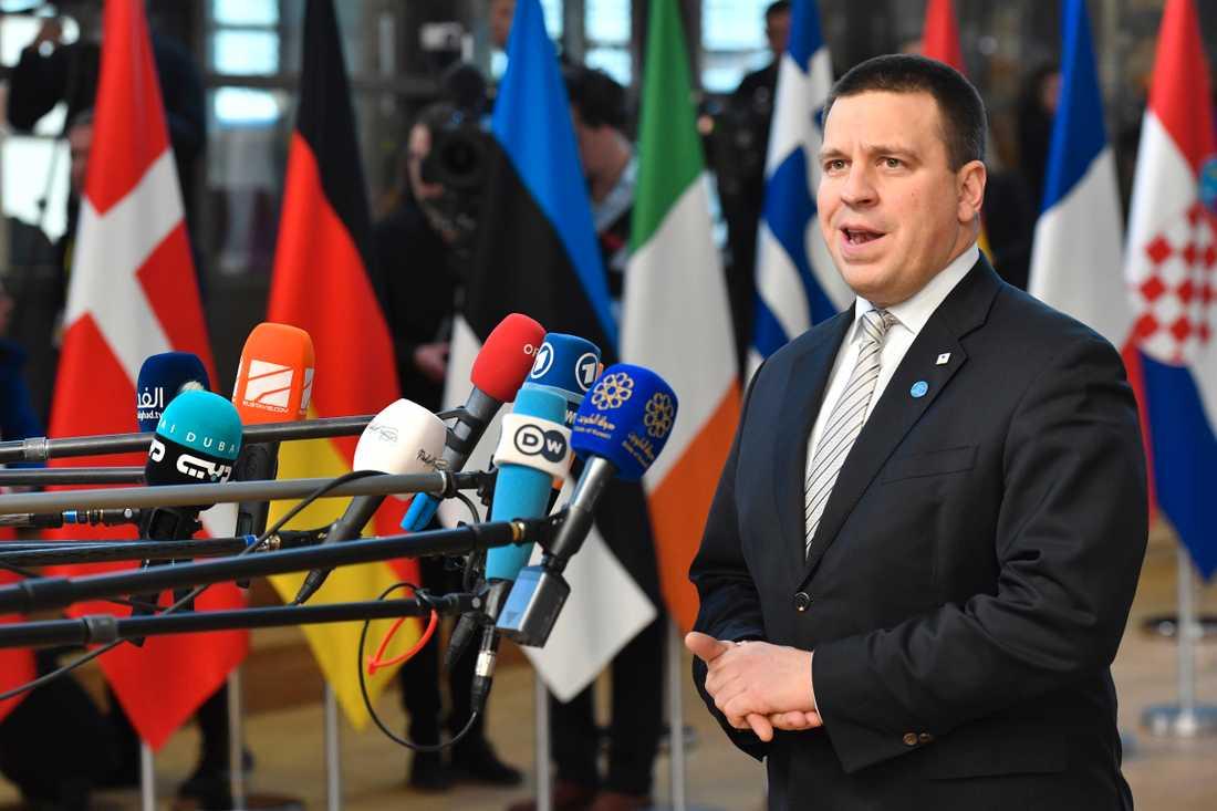Estlands premiärminister Jüri Ratas har fått förklara sig inför medier gång på gång e att regeringskollegorna i Ekre har gjort utspel. Arkivbild.