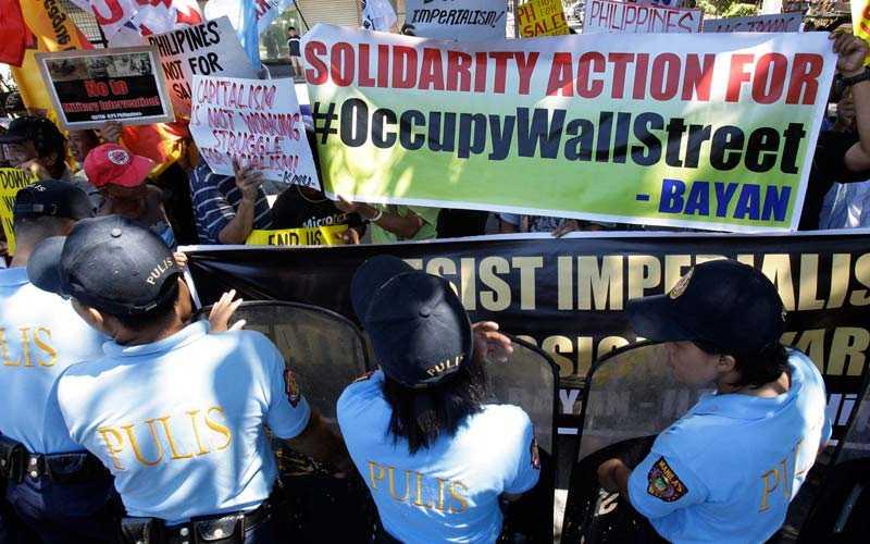 Protest på Filippinerna.