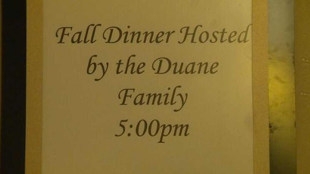 Inbjudan som familjen satte upp.
