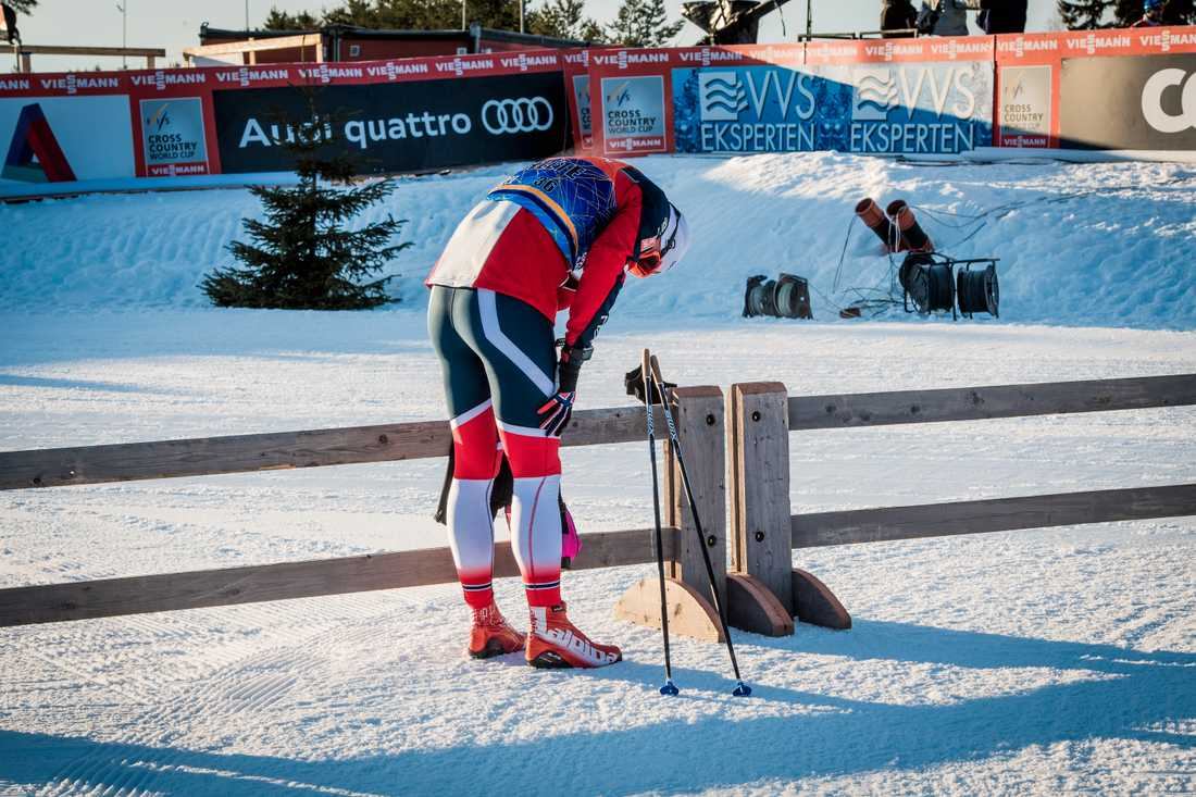 Northug efter att ha åkt ur redan i kvalet till sprinten under världscuptävlingarna i Lillehammer förra vintern.