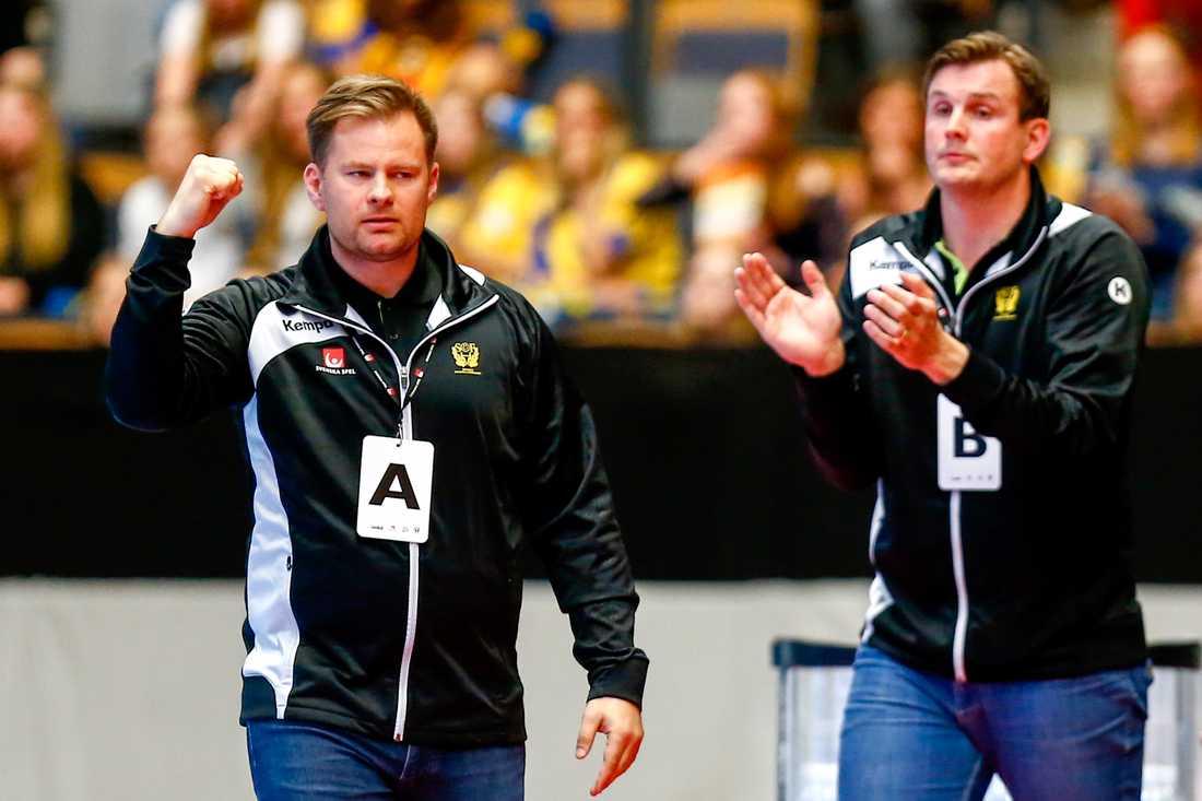 Förbundskapten Kristján Andrésson och assisterande Martin Boquist.