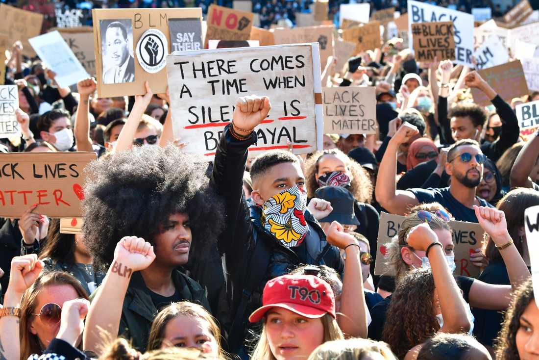 Protest på Sergels torg i Stockholm.