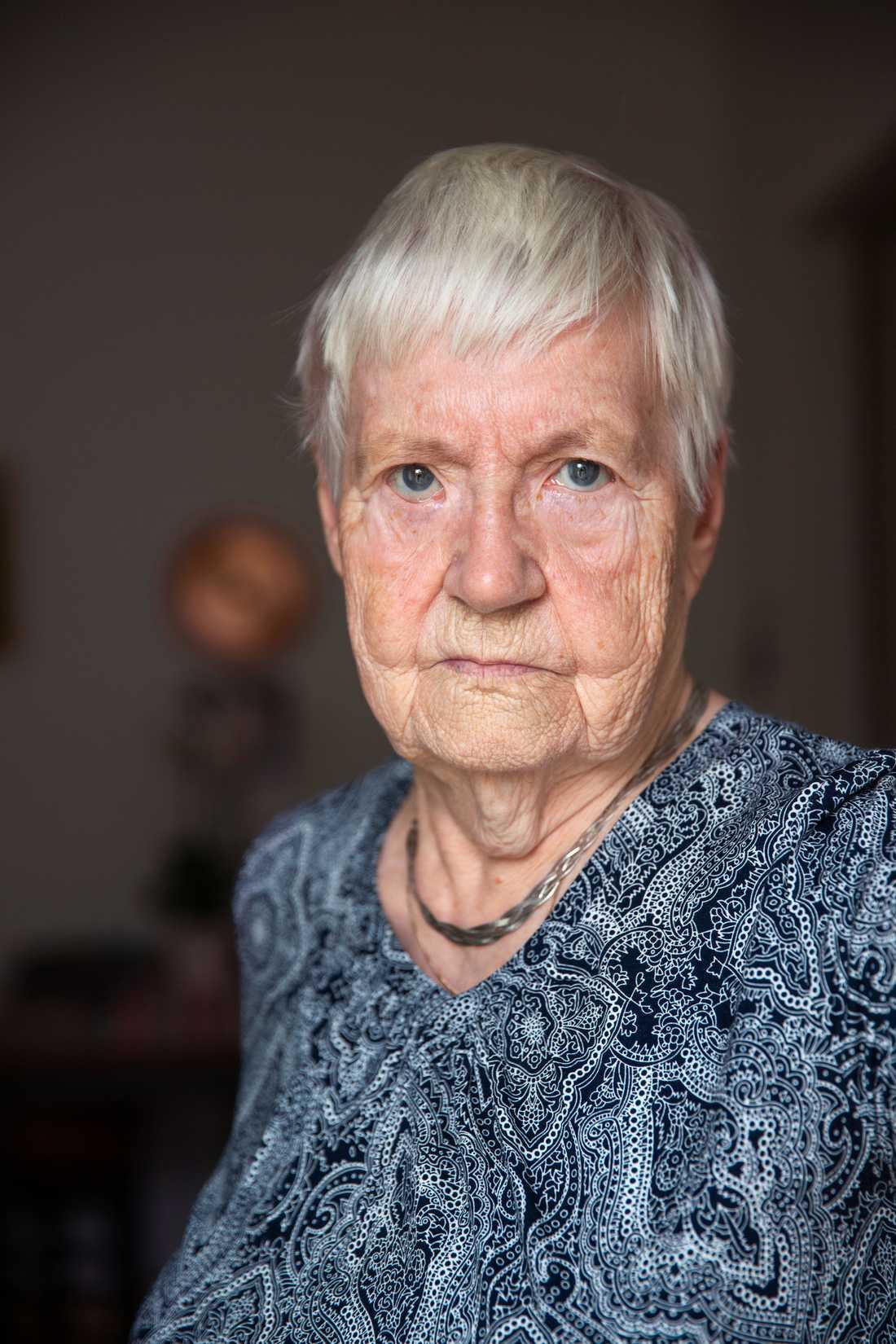 Gerda Nyholm, 87, bor på äldreboendet Skogsgläntan i Stora Sundby.