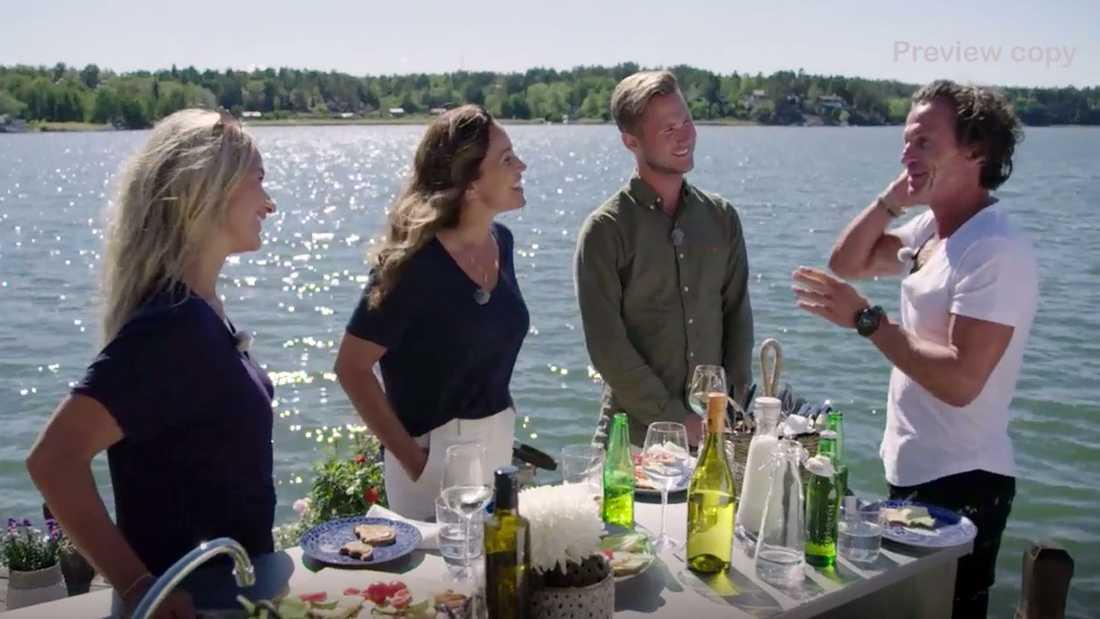 """Förutom Kristin Kaspersen gästas Renée Nyberg av Viktor Frisk och Petter Stordalen i säsongspremiären av """"Renées brygga""""."""