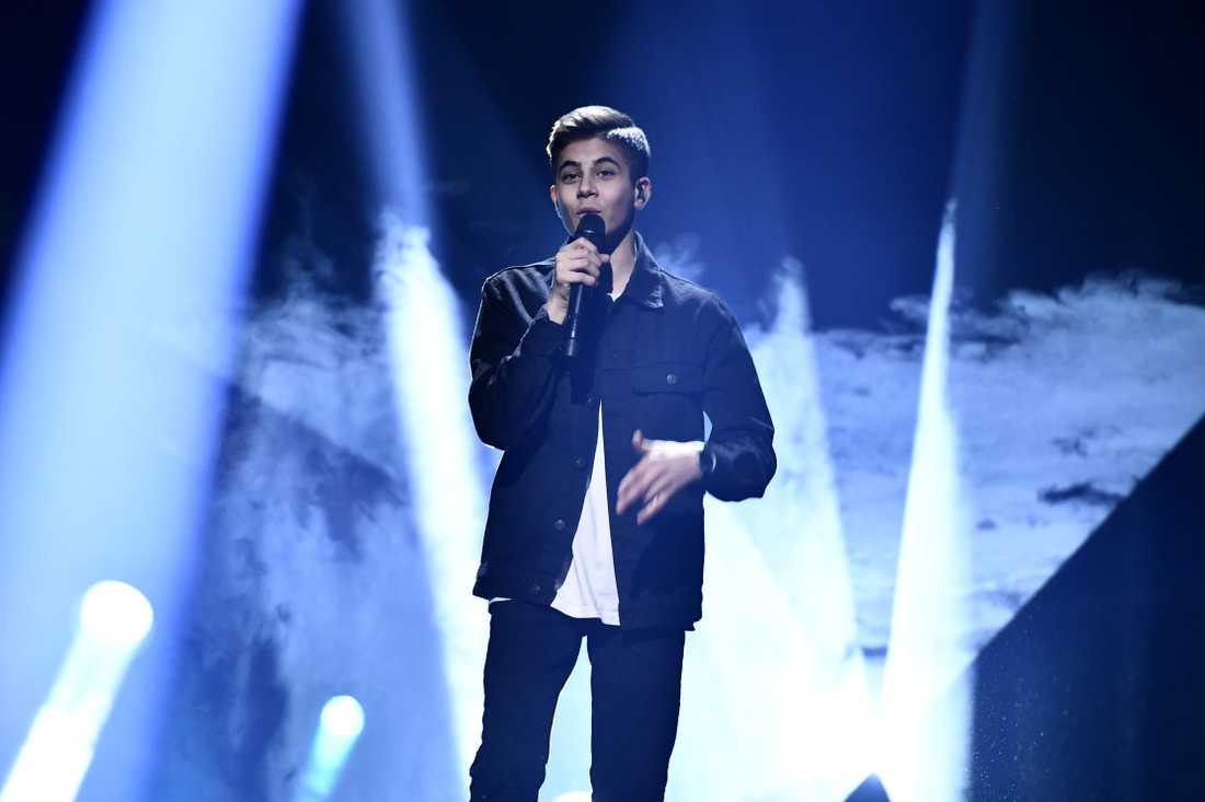 Bishara Morad på scenen under Melodifestivalens genrep