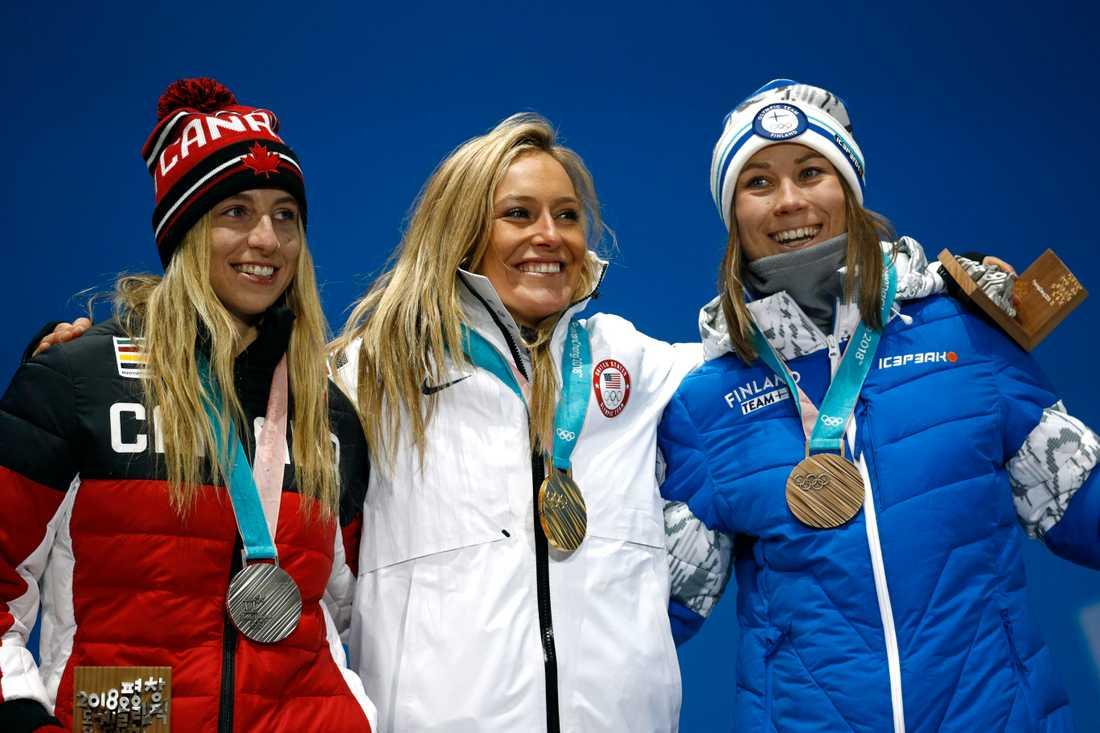 Jamie Anderson, USA, vann OS-guld i snowboardens slopstyle. I big air får hon en ny chans till medalj.