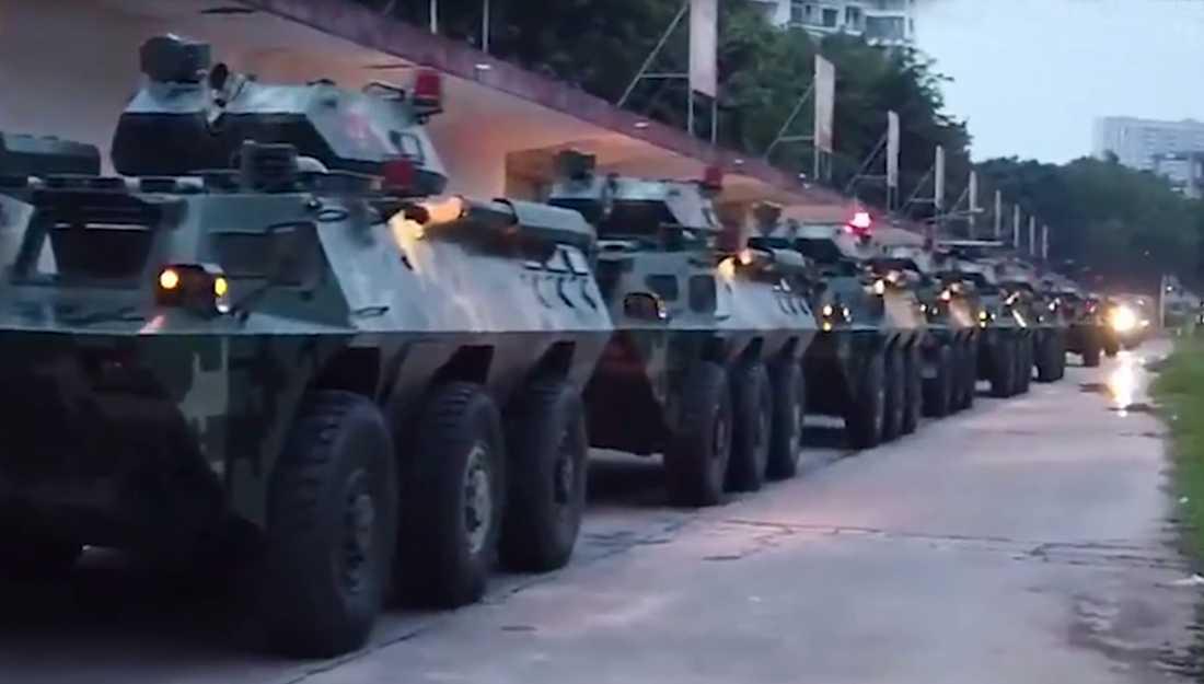 Kinesiska styrkor i närheten av Hong Kong.