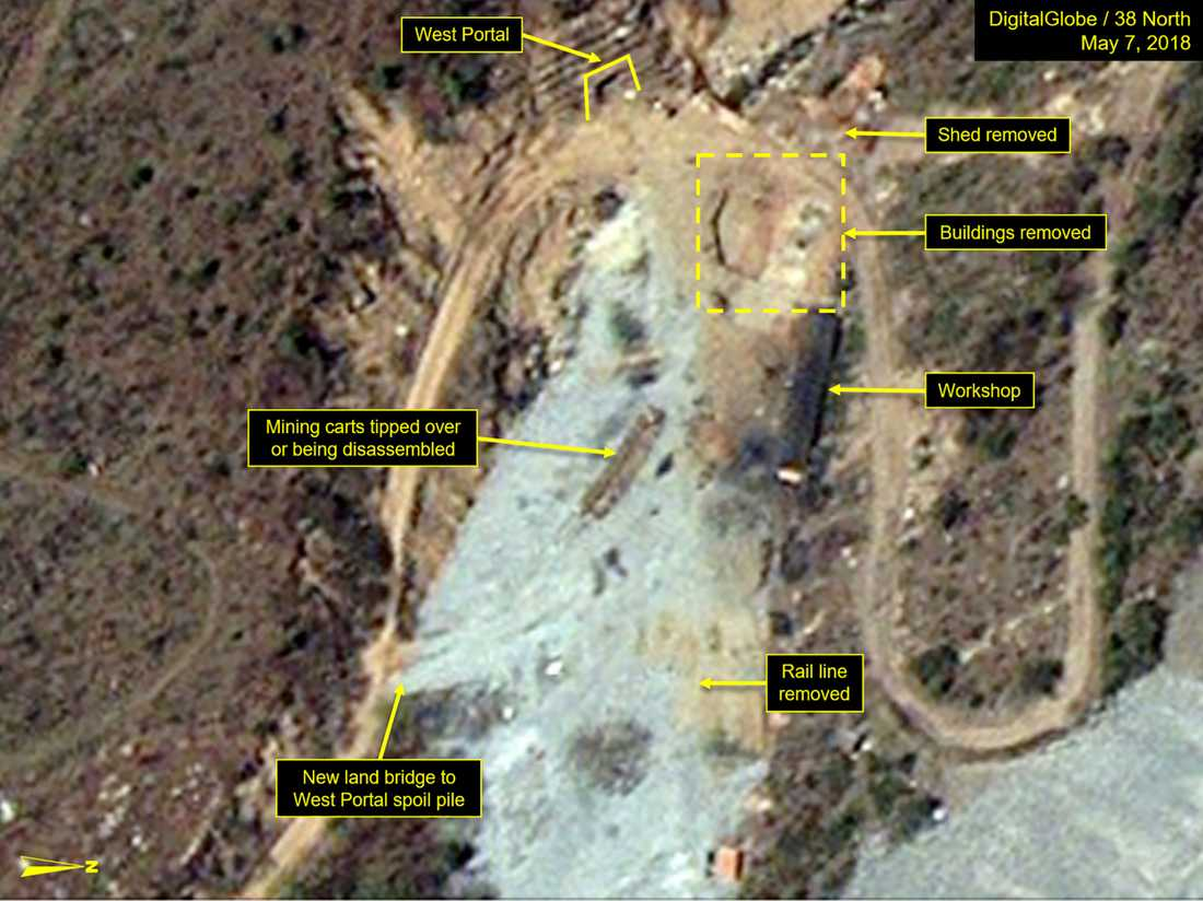 Satellitbilderna sägs vara det första definitiva beviset på att anläggningen Punggye-ri faktiskt håller på att stänga ner