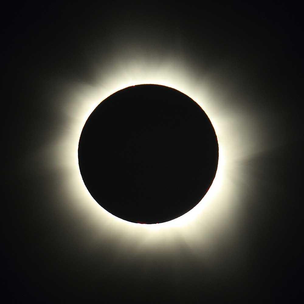Total solförmörkelse fotograferad i Australien 2012.