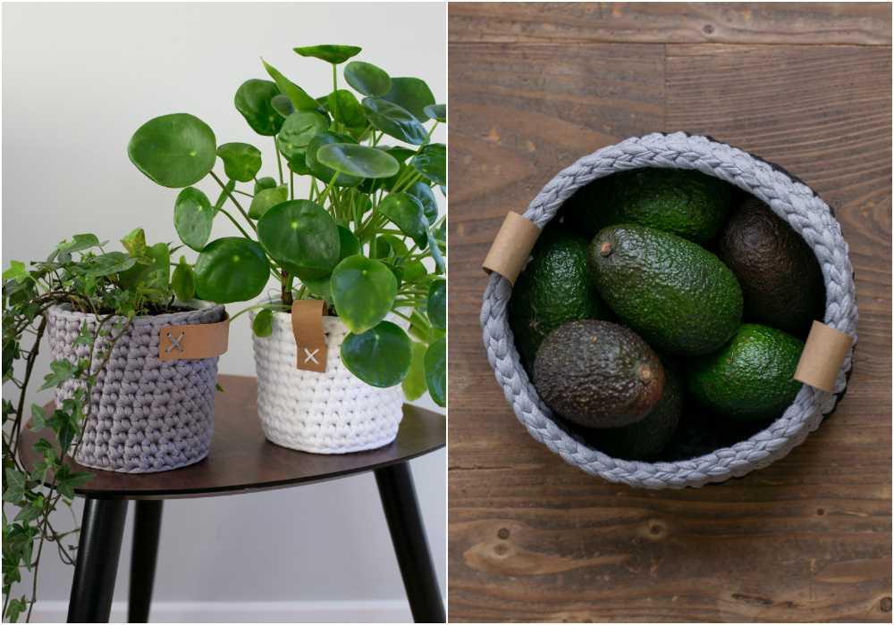 Använd korgarna som mjuka ytterkrukor eller för frukt och grönt.