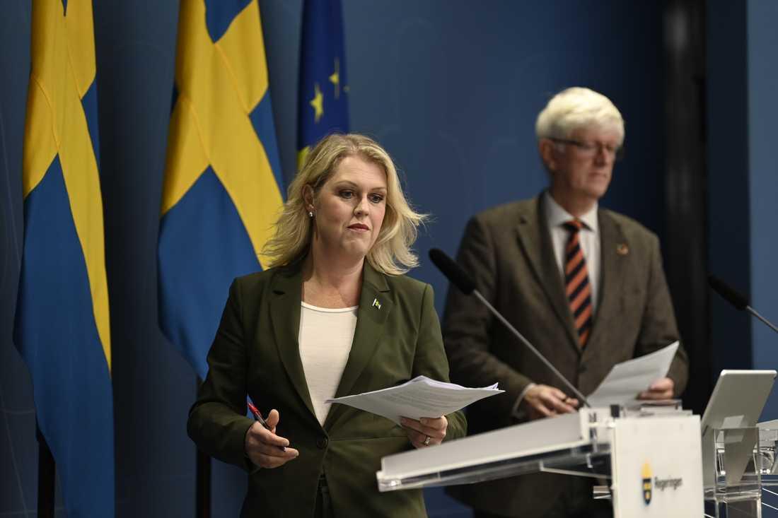 Lena Hallengren på pressträffen.