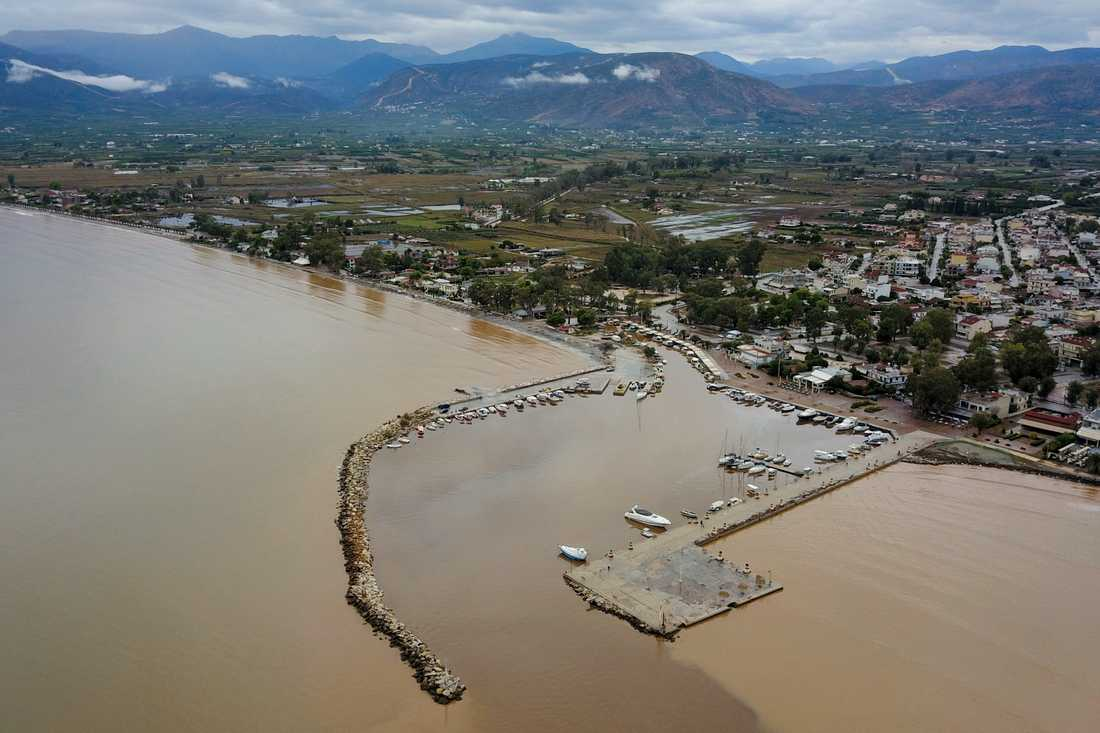 Översvämningar i Aten förra veckan efter en kraftig storm.