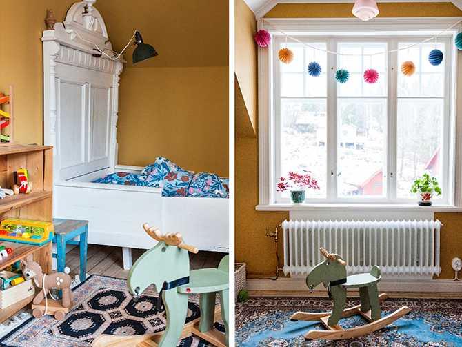 Weras rum är målat i en ockragul miljövänlig färg från Wibo.