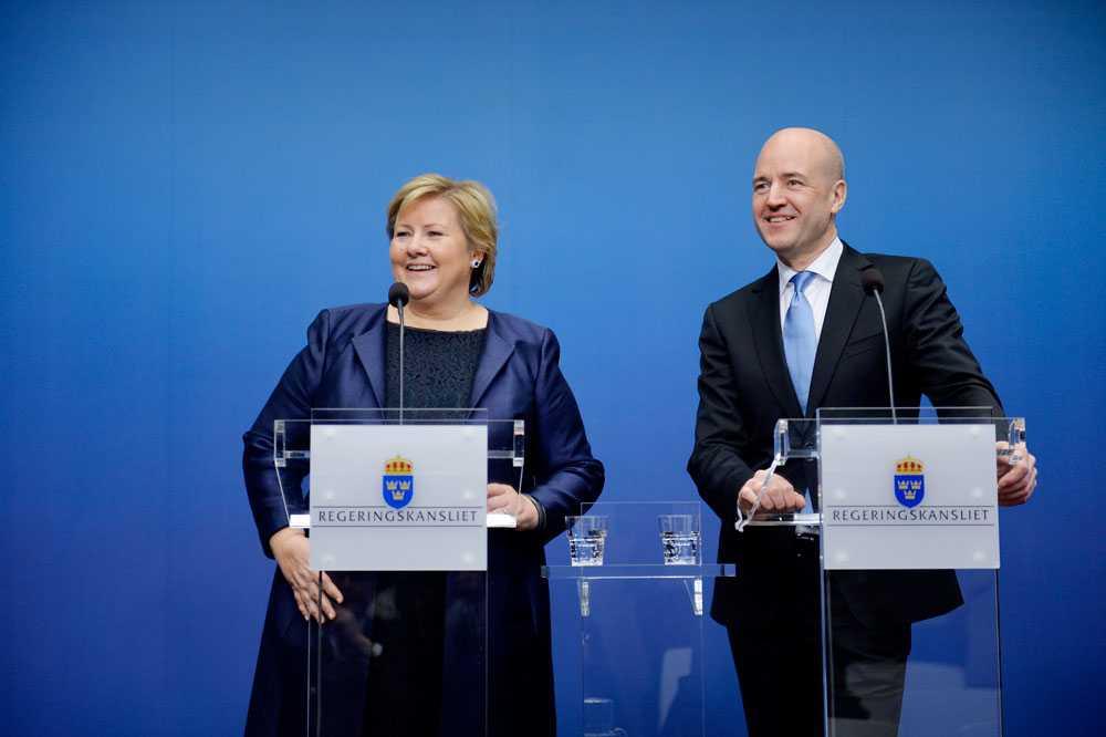 Norges statsminister Erna Solberg och Fredrik Reinfeldt, vid Solbergs första officiella besök i Sverige som statsminister.