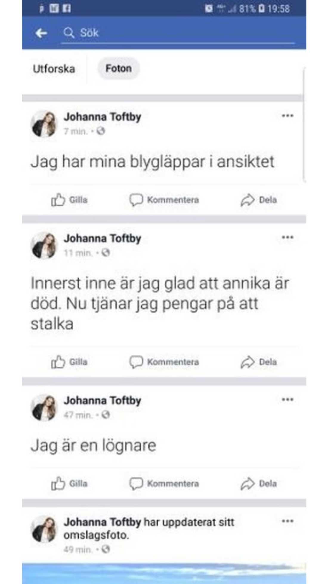"""Skärmdump från """"Johanna Toftbys"""" Facebook."""