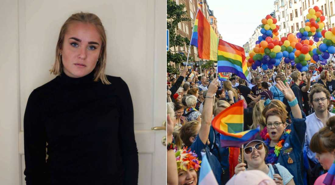 Rebecca Lysholm ville visa brösten på prideparaden.