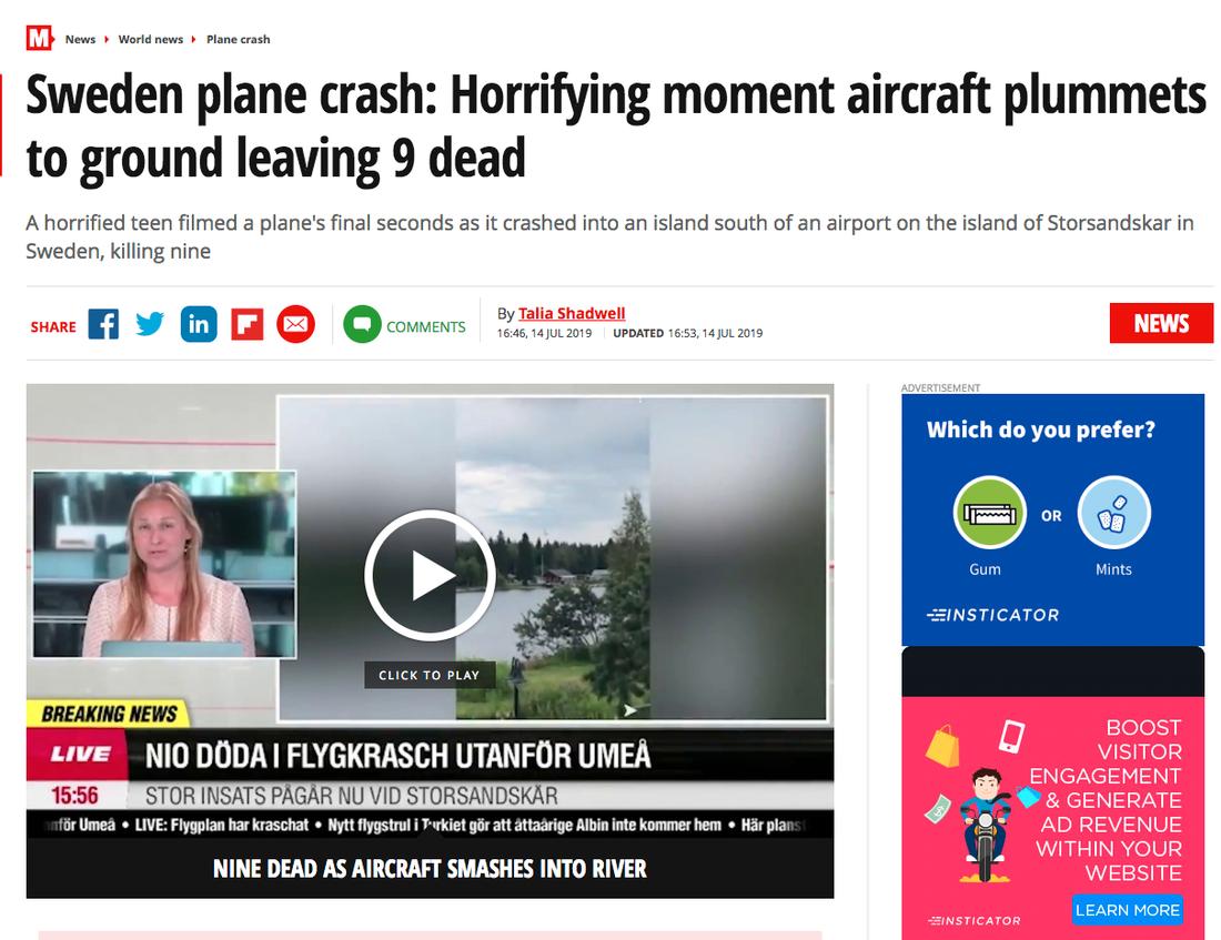"""Brittiska Mirror: """"Skrämmande ögonblick när flygplan störtar mot marken och lämnar nio döda""""."""