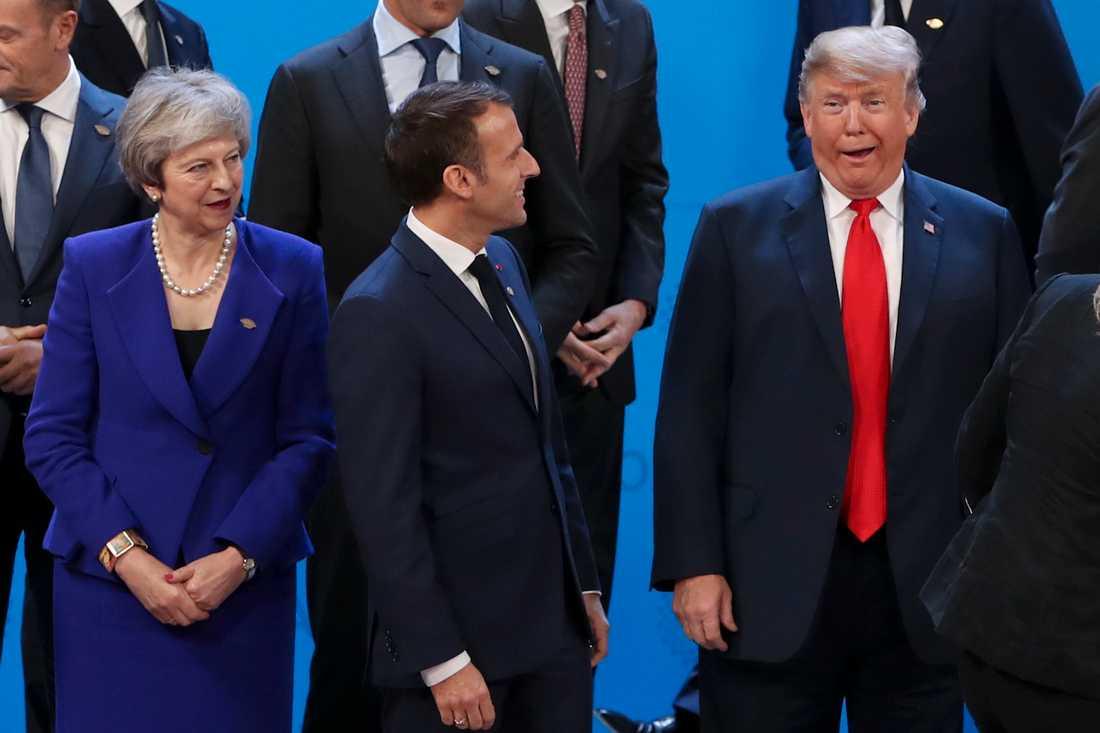 Storbritanniens premiärminister Theresa May, Frankrikes president Emmanuel Macron och USA:s president Donald Trump.
