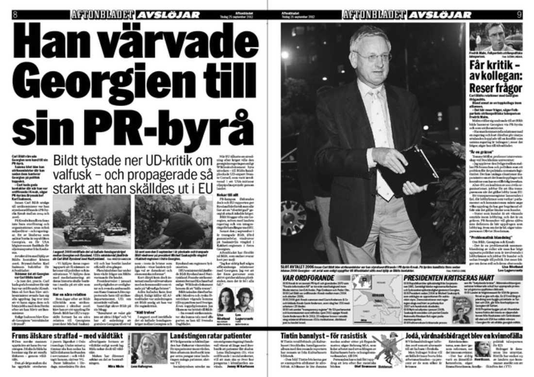 REGIMEN JUBLAR I dag hålls parlamentsval i Georgien – något som inte har gått utrikesminister Carl Bildt förbi. Enligt dagens debattör har han via sin blogg tagit ställning mot oppositionen i landet – och för dess auktoritäre president Saakasjvili.