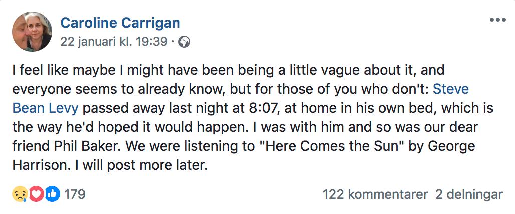 Caroline Carrigan om saknaden efter Steve Bean.