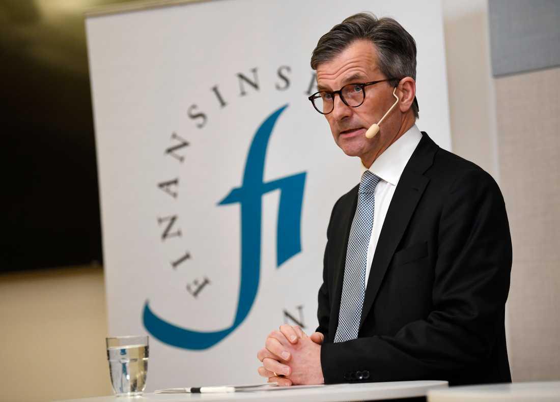 Finansinspektionens generaldirektör Erik Thedéen vid torsdagens pressträff.
