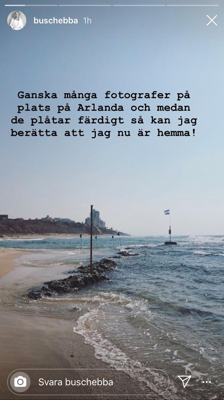 Ebba Busch Thor kommenterar ankomsten på Arlanda på Instagram.