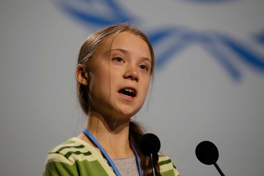 Klimataktivisten Greta Thunberg talade inför delegater vid FN:s klimatmöte COP25 i Madrid på onsdagsförmiddagen.