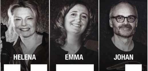 Helena Bergström, Emma Bucht och Johan Rheborg gör podden HEJ.