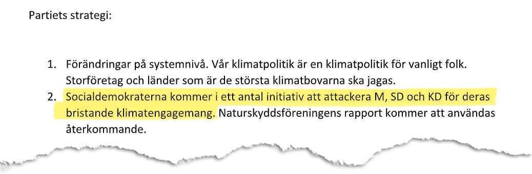 Från Socialdemokraternas interna strategidokument.