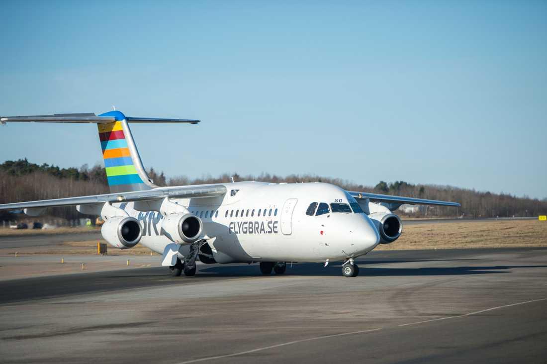 Planet (ej det på bilden) som Skifs och Körberg flög med var från flygbolaget Bra.