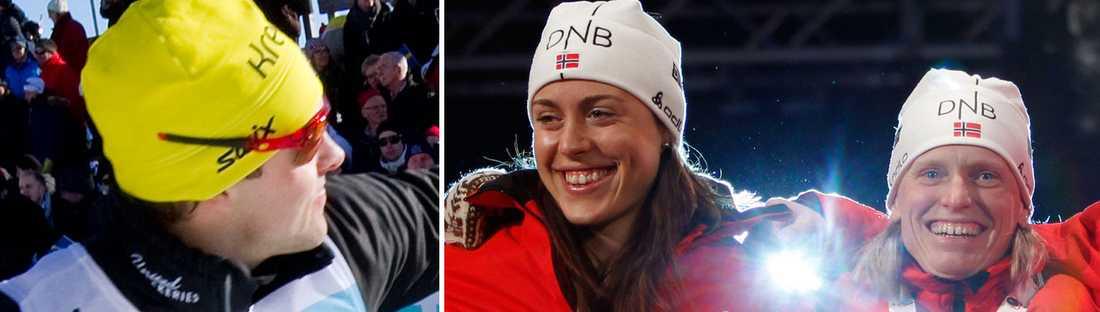 Jörgen Brink borde få en bil till, anser norska skidskyttedamerna Synnøve Solemdal och Tora Berger.