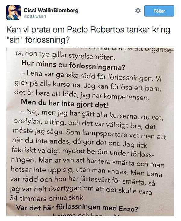 Cissi Wallins spydiga kommentar om Paolo Roertos uttalanden i tidningen Mama.