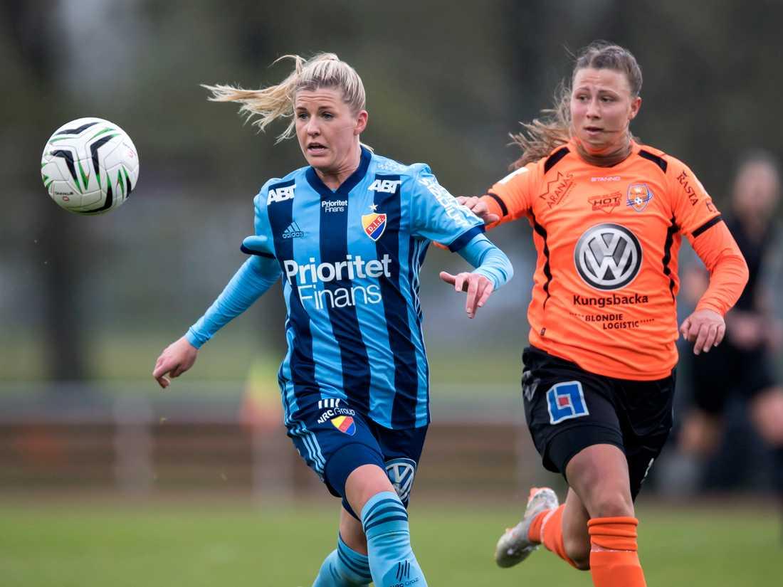 Kungsbackas Emilia Hjertberg, höger, har sagt ja till en lön på 500 kronor i månaden från klubben. Arkivbild.