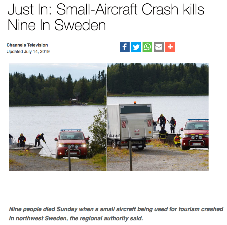Nigerianska Channels TV rapporterar om olyckan.
