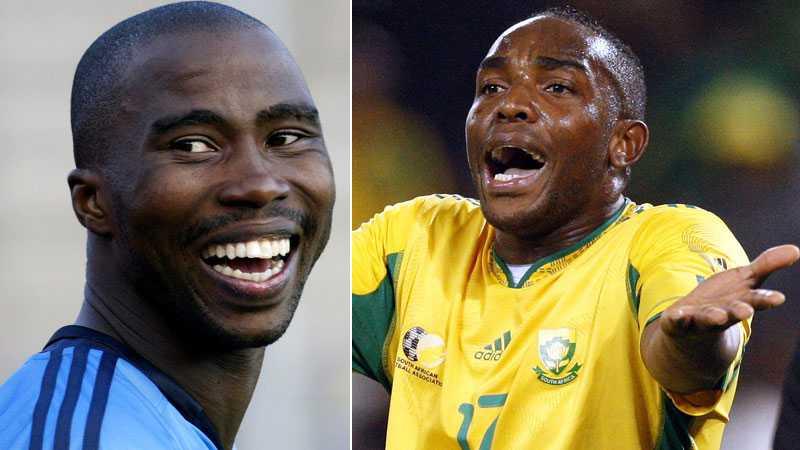 Förre djurgårdslånet Siyabonga Nomvethe (till vänster) finns med i Sydafrikas VM-trupp. Det gör däremot inte anfallsstjärnan Benni McCarthy som i dag petades av förbundskapten Parreira.