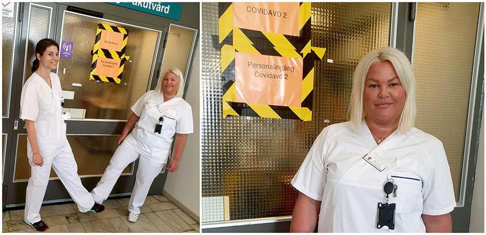 Sjuksköterskan Jeanine Svensson till vänster och undersköterskan Ida Orpana till höger på första bilden jobbar tillsammans på en corona-avdelning på Västmanlands sjukhus. Jeanine hyllar sin kollega Ida för hennes mod och fina sätt mot patienter och anställda.